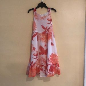 Orange/white flowered dress